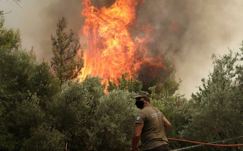 A firefighter tries to extinguish a fire in the village of Avgaria, on the island of Evia, Greece, August 10, 2021. REUTERS/Stelios Misinas