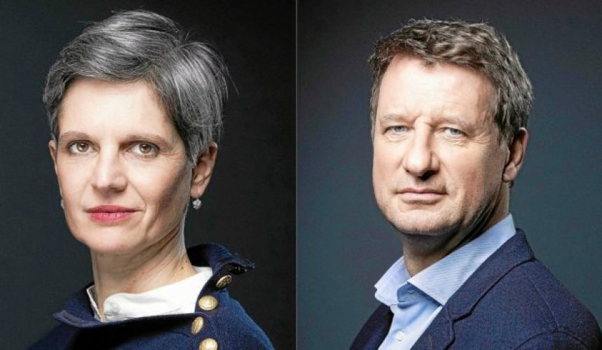 (FILES) In this file photo taken on December 10, 2020 French ecologist party Europe Ecologie Les Verts (EELV) member Sandrine Rousseau (L) poses during a photo session in Paris on December 10, 2020, and European MP of EELV (Europe Ecology – The Greens) Yannick Jadot poses during a photo session in Paris, on December 9, 2020.  (Photo by JOEL SAGET / AFP)